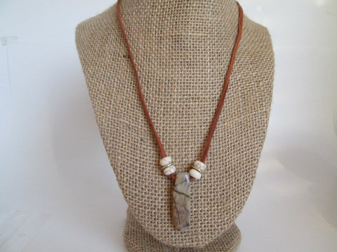 Handmade White Howlite stone beaded surfer necklace with a feature beautiful brown Jasper stone - SpuzzosDeals