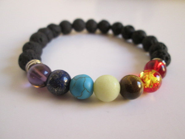 Stunning 7 Chakra Bead and Lava Beaded Bracelet - SpuzzosDeals