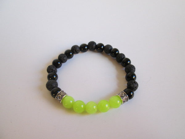 Stunning Bracelet Featuring Natural Green Peridot Stone Lava, Black Onyx and Bali Beads - SpuzzosDeals
