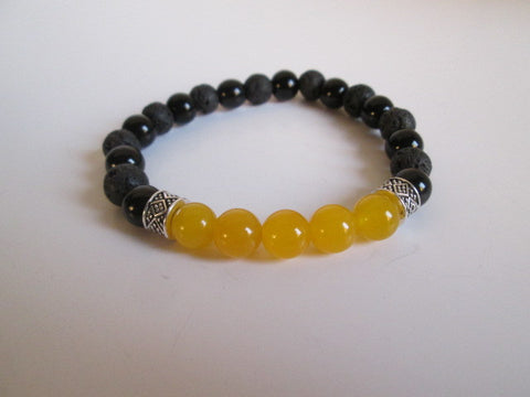 Stunning Bracelet Featuring Yellow Jade, Onyx and Lava Beads - SpuzzosDeals