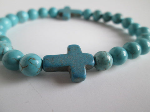 Stunning Blue Howlite Cross Surrounded by Blue Howlite Bead Bracelet - SpuzzosDeals