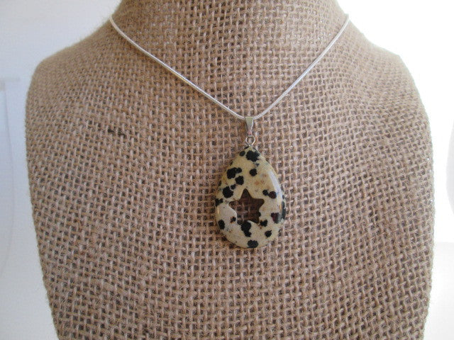 Beautiful Dalmatian Jasper Pendant with Star Shape Carved in Center - SpuzzosDeals