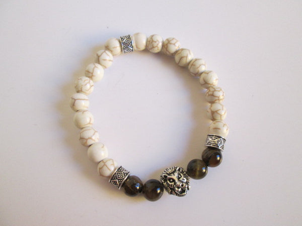 Beautiful Lion Bead Featuring Tigers Eye And White Howlite Beaded Bracelet - SpuzzosDeals