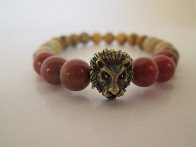 Beautiful Bronze Lion With Tan Chinese Picture Stone and Red Jasper On A Beaded Bracelet - SpuzzosDeals