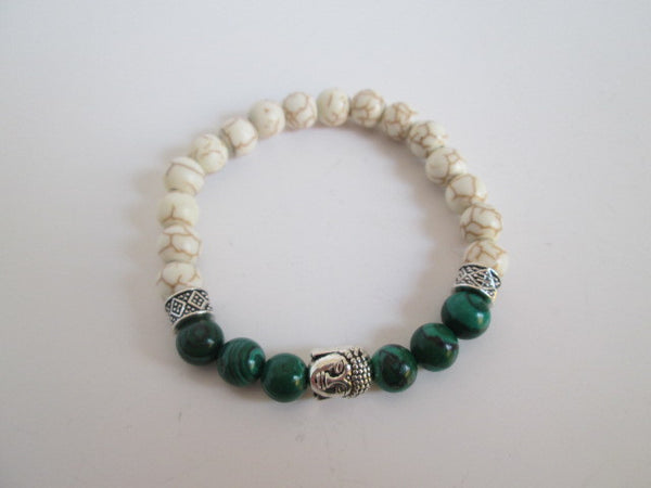 Beautiful Silver Buddha With Natural Stones and White Howlite Bracelet - SpuzzosDeals