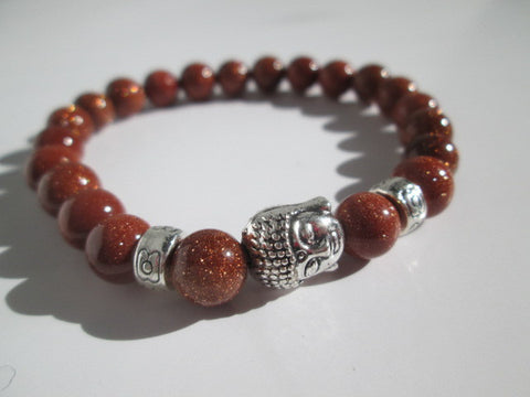 Beautiful Natural Gold Sand Stone and Silver Buddha Bracelet - SpuzzosDeals