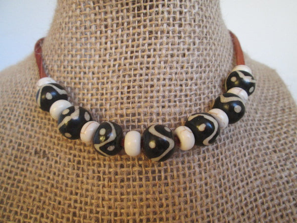 Handmade Necklace Featuring Cool Black and White Beads and Howlite Beads on Leather Cording - SpuzzosDeals