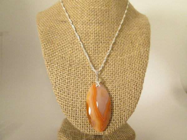 Beautiful Orange Madagascar Druzy Agate Sterling Silver Bale Necklace. - SpuzzosDeals