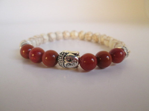 Beautiful Silver Buddha With Red Grass Coral and White Howlite On A Beaded Bracelet - SpuzzosDeals