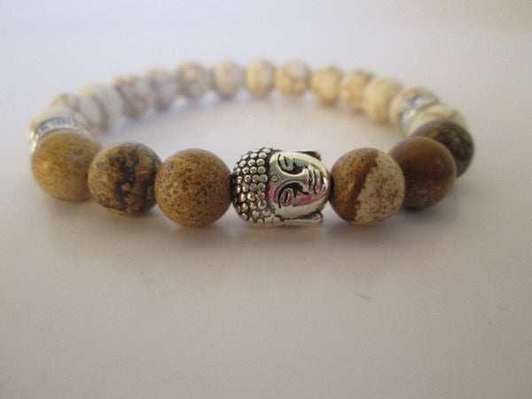 Beautiful Silver Buddha With Tan Chinese Picture Stone and White Howlite On A Beaded Bracelet - SpuzzosDeals