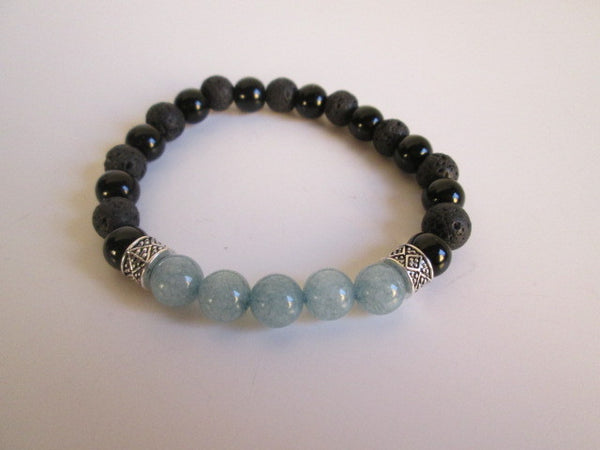 Beautiful Bracelet Featuring Blue Aquamarine, Onyx and Lava Beads - SpuzzosDeals