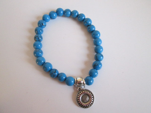 Beautiful Natural Blue Howlite Stone With Silver Sunflower Tone Charm Bracelet - SpuzzosDeals