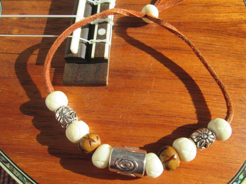 Surfer Bracelet Featuring a Large Silver Bead, Howlite Stone, Wood & Silver Beads on Leather - SpuzzosDeals