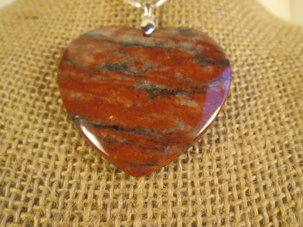 Stunning Necklace Heart Shaped Red Jasper Stone Pendant. - SpuzzosDeals