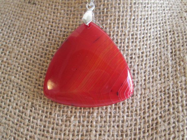 Stunning Natural Red Striped Agate Pendant Necklace In a Triangle Shape - SpuzzosDeals