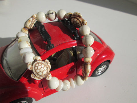 Cute recon-stone turtle and Howlite stone beaded surfer bracelet - SpuzzosDeals
