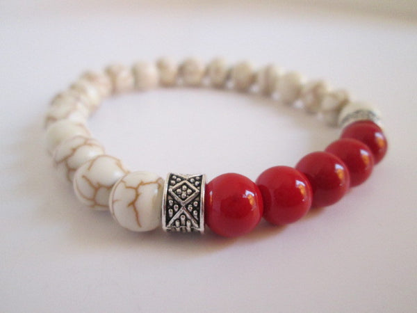 Beautiful Red Howlite and White Howlite Beaded Bracelet - SpuzzosDeals