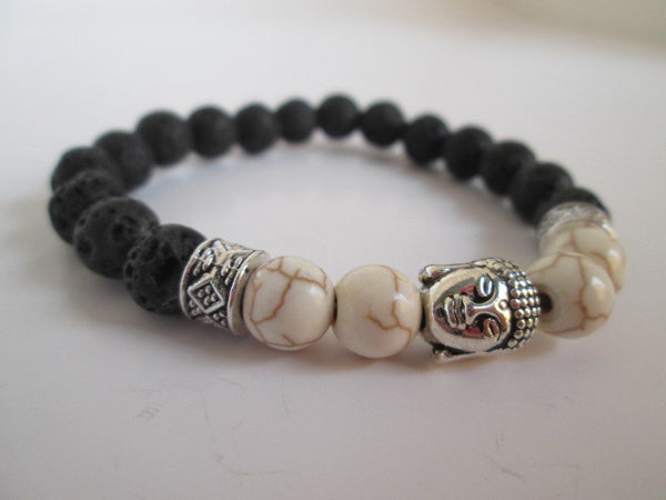 Stunning Silver Buddha, White Howlite and Lava Beaded Bracelet - SpuzzosDeals