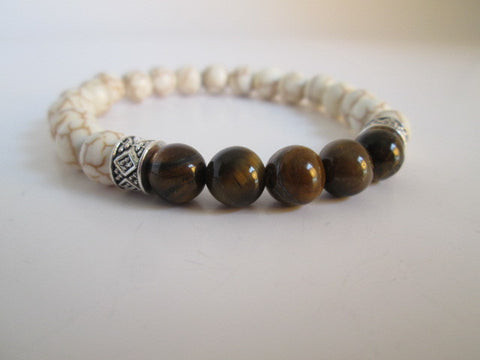Stunning Tigers Eye and White Howlite Beaded Bracelet - SpuzzosDeals