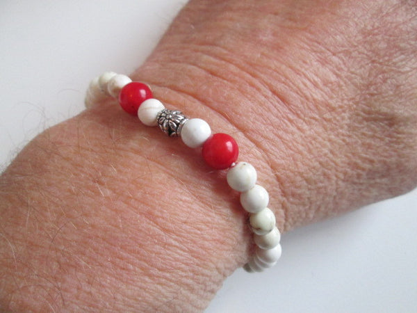 Beautiful Red Howlite Cross, White Howlite and Silver Tone Beaded Bracelet. - SpuzzosDeals