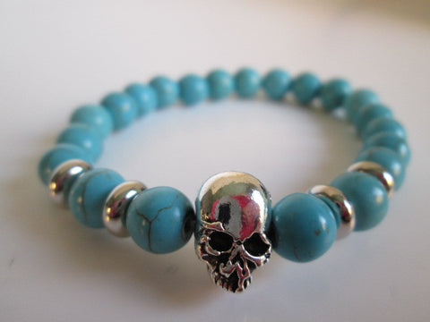 Gnarly Silver Skull and Turquoise Color Stone Howlite Chakra Bracelet - SpuzzosDeals