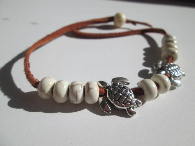 Boho, Bohemian, Hippie Bracelet Featuring Silver Turtles, Howlite Stones, Silver Beads - SpuzzosDeals