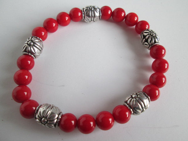 Beautiful Handmade Red Jasper and Silver Beaded Bracelet on Elastic Cording. - SpuzzosDeals