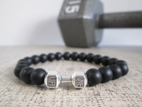 Stunning Black Matte Onyx Natural Stone and Silver Dumbbell Barbell Bracelet