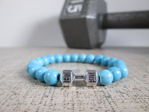 Stunning Blue Howlite Natural Stone and Silver Dumbbell Barbell Bracelet