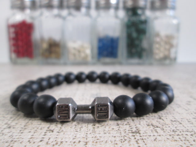 Stunning Black Agate Natural Stone and Black Dumbbell Barbell Bracelet - SpuzzosDeals