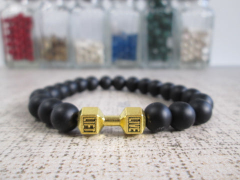 Stunning Black Agate Natural Stone and Gold Colored Dumbbell Barbell Bracelet - SpuzzosDeals