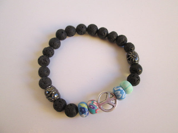 Peace Out Man... Silver Peace Sign, Clay Tie Dye and Lava Beaded Bracelet - SpuzzosDeals