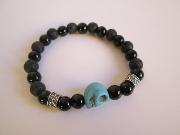 Turquoise Colored Howlite Skull and Black Onyx Lava Beaded Bracelet - SpuzzosDeals