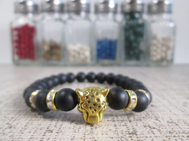 Stunning Gold Tone Leopard Head Bead, Crystal and Lava Stone Bracelet - SpuzzosDeals
