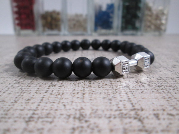 Stunning Black Agate Natural Stone and Silver Plated Dumbbell Barbell Bracelet - SpuzzosDeals
