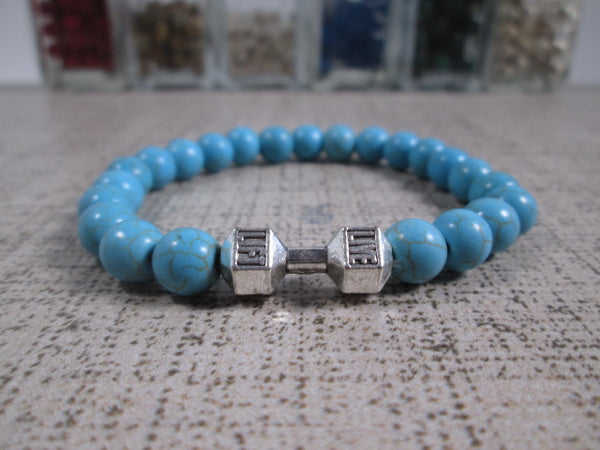 Stunning Turquoise Howlite Natural Stone and Silver Dumbbell Barbell Bracelet - SpuzzosDeals