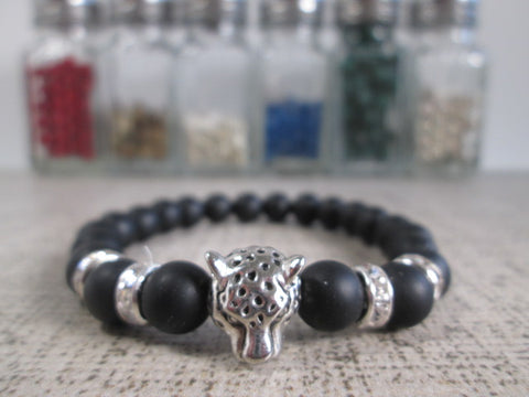 Stunning Silver Tone Leopard Head Bead, Crystal and Lava Stone Bracelet - SpuzzosDeals