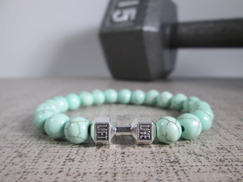 Stunning Green Howlite Natural Stone and Silver Dumbbell Barbell Bracelet