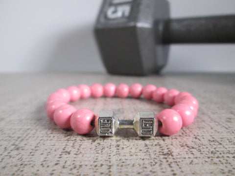 Stunning Pink Howlite Natural Stone and Silver Dumbbell Barbell Bracelet