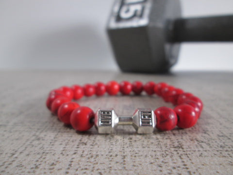 Stunning Red Howlite Natural Stone and Silver Dumbbell Barbell Bracelet