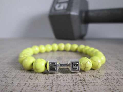 Stunning Yellow Howlite Natural Stone and Silver Dumbbell Barbell Bracelet