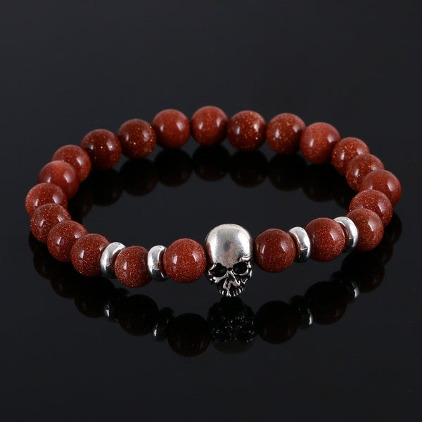 Handsome Skull and Beaded Natural Stone Bracelet - SpuzzosDeals