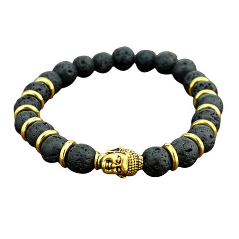 Handsome Lava Stone and Buddha Beaded Rock Elastic Bracelet - SpuzzosDeals