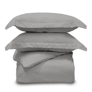 Lux 3 Piece King/California King Graphite Duvet Cover Sham and Set
