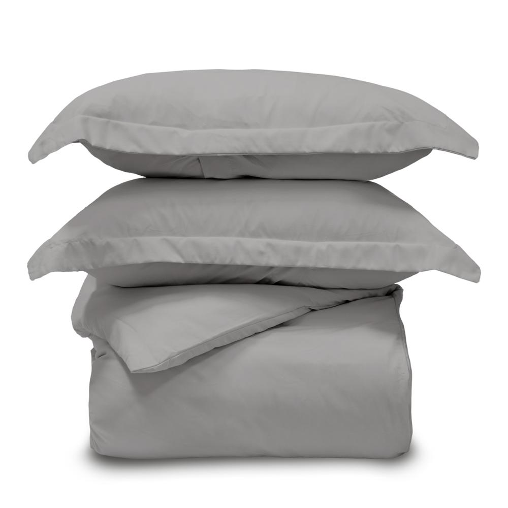 Lux 3 Piece Queen Graphite Duvet Cover Sham and Set