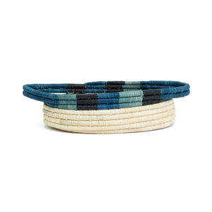 Cool Color Blocked Dipped Raffia Oval Basket