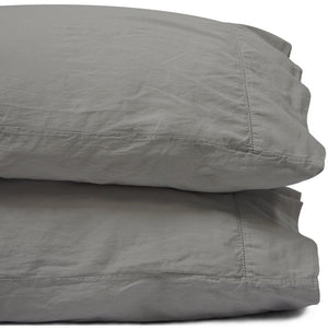King Storm Gray Relaxed Cotton Sateen Pillowcase