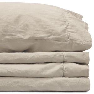 Sateen California King Flax Linen Sheet Set