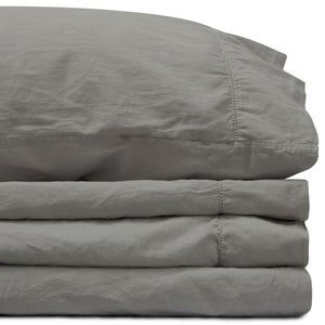 Sateen California King Storm Gray Sheet Set