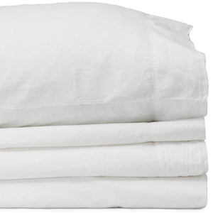 Percale Queen White Sheet Set